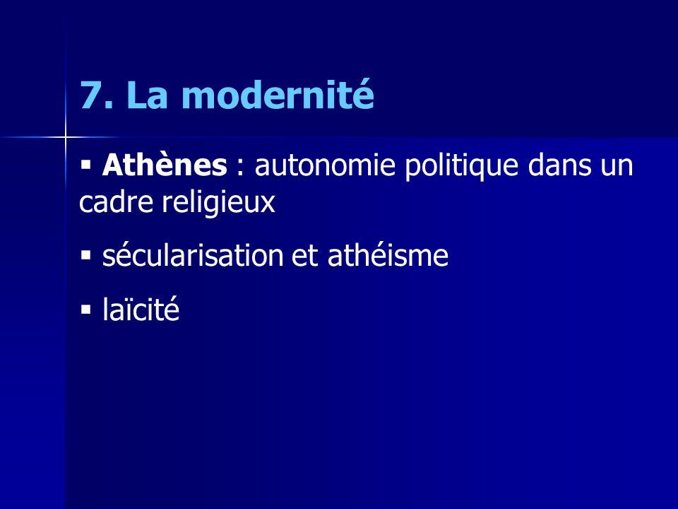 7. La modernité Athènes : autonomie politique dans un cadre religieux