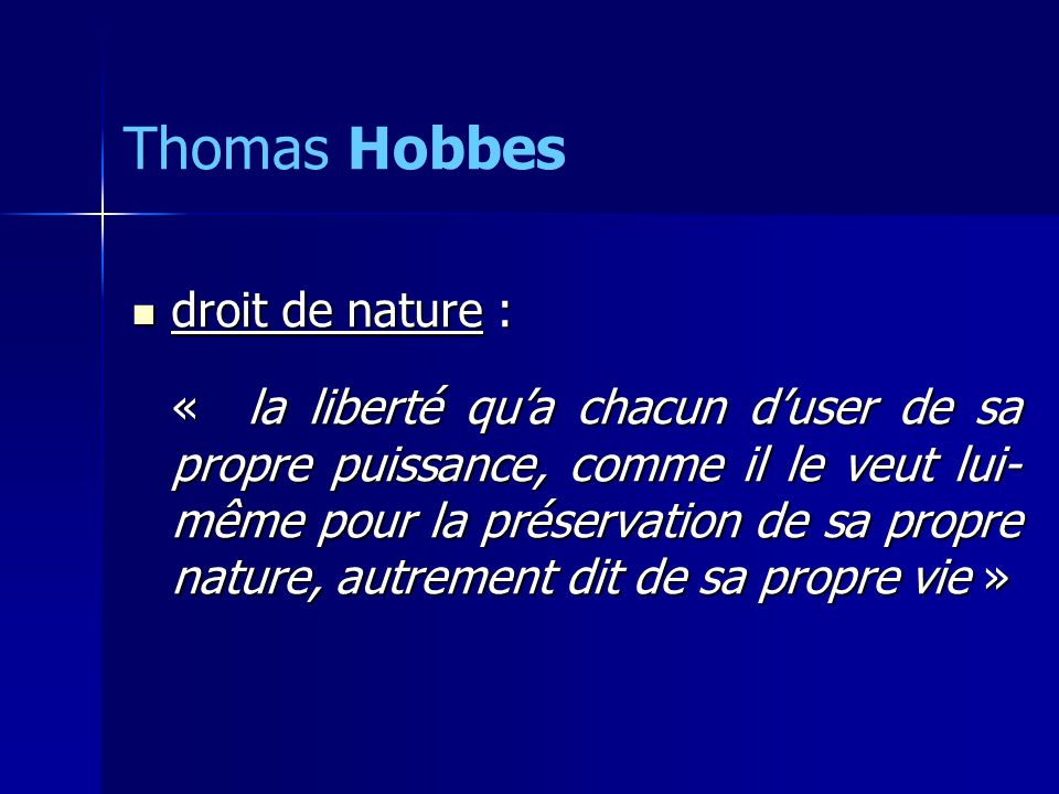 Thomas Hobbes droit de nature :