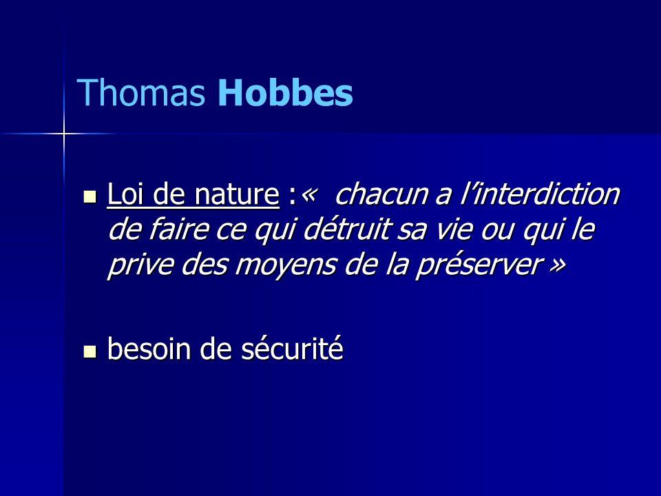 Thomas Hobbes Loi de nature :« chacun a l'interdiction de faire ce qui détruit sa vie ou qui le prive des moyens de la préserver »