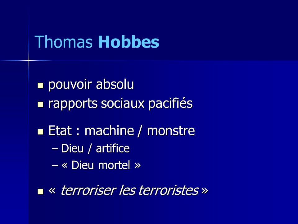 Thomas Hobbes pouvoir absolu rapports sociaux pacifiés