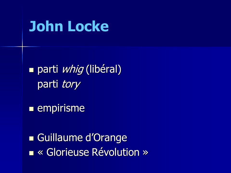 John Locke parti whig (libéral) parti tory empirisme