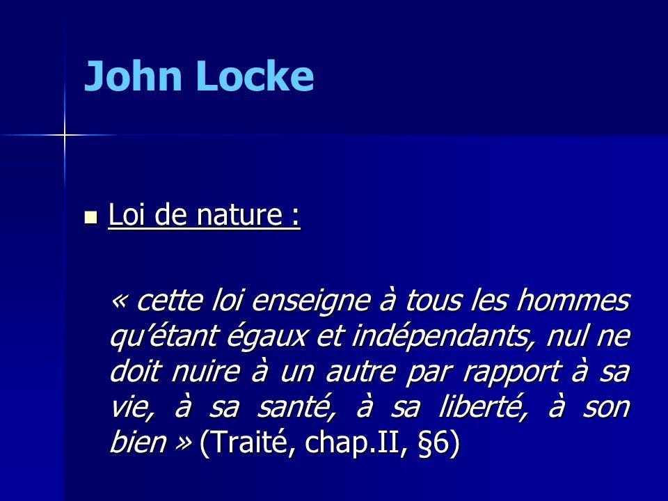 John Locke Loi de nature :