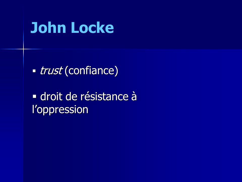 John Locke trust (confiance) droit de résistance à l'oppression