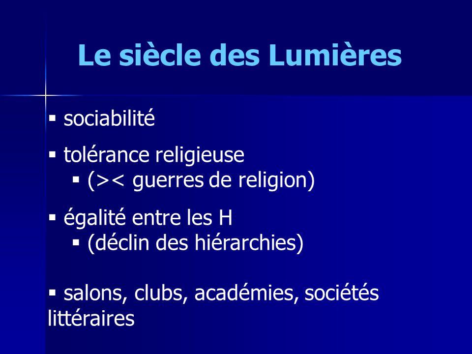 Le siècle des Lumières sociabilité tolérance religieuse
