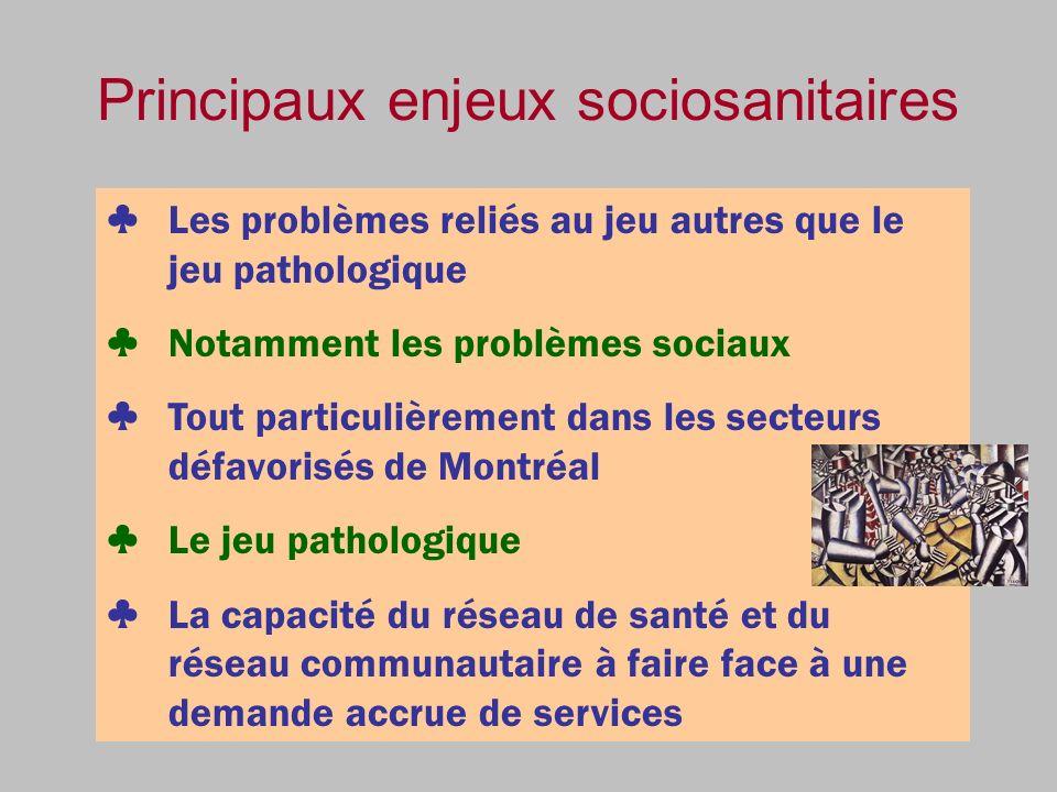 Principaux enjeux sociosanitaires