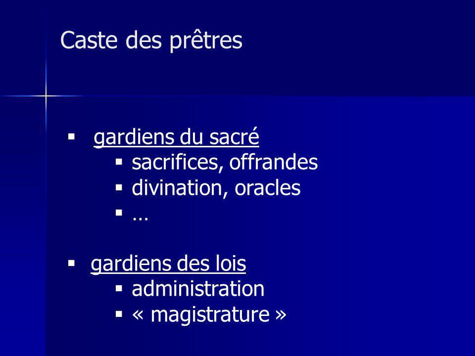Caste des prêtres gardiens du sacré sacrifices, offrandes