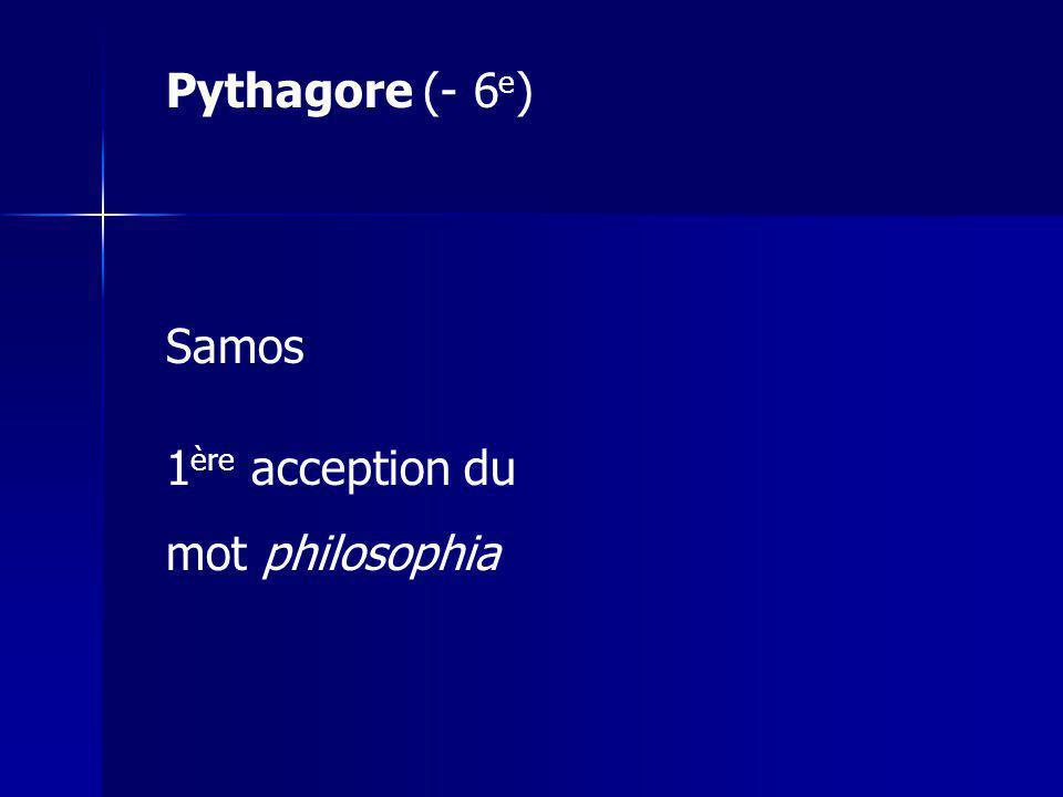 Pythagore (- 6e) Samos 1ère acception du mot philosophia