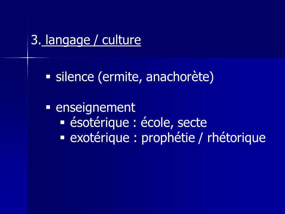 langage / culture silence (ermite, anachorète) enseignement.