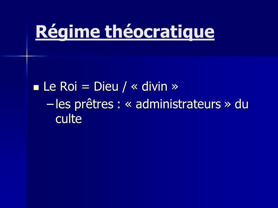 Régime théocratique Le Roi = Dieu / « divin »