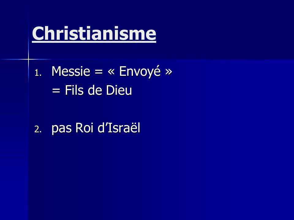 Christianisme Messie = « Envoyé » = Fils de Dieu pas Roi d'Israël