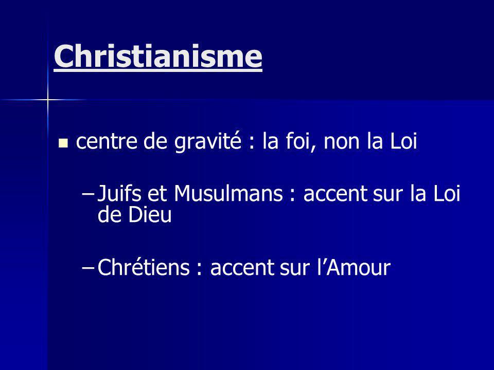 Christianisme centre de gravité : la foi, non la Loi