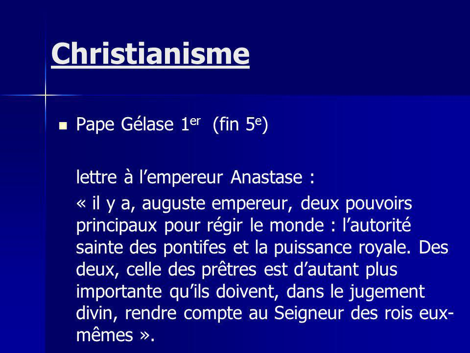 Christianisme Pape Gélase 1er (fin 5e) lettre à l'empereur Anastase :