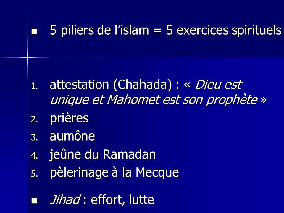 5 piliers de l'islam = 5 exercices spirituels