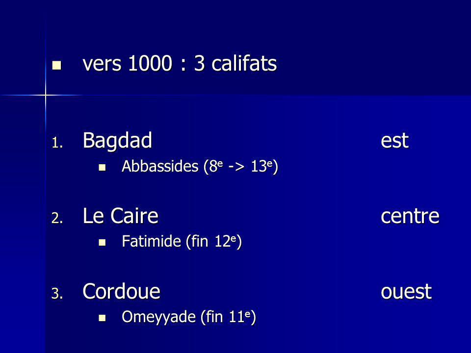 vers 1000 : 3 califats Bagdad est Le Caire centre Cordoue ouest