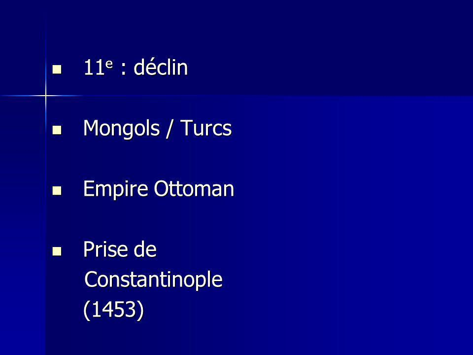 11e : déclin Mongols / Turcs Empire Ottoman Prise de Constantinople (1453)