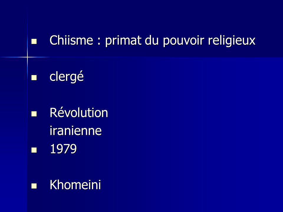 Chiisme : primat du pouvoir religieux