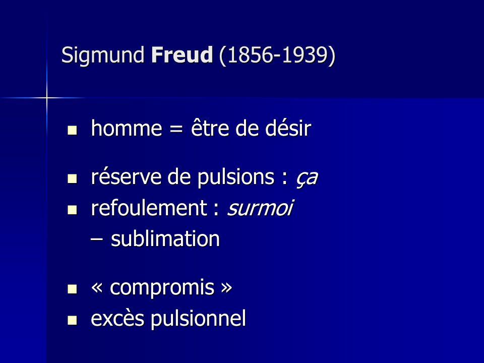 Sigmund Freud (1856-1939) homme = être de désir. réserve de pulsions : ça. refoulement : surmoi. sublimation.