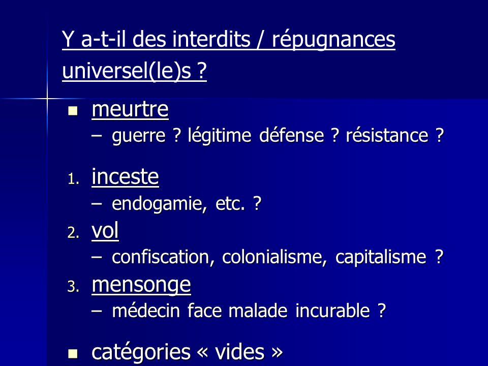 Y a-t-il des interdits / répugnances universel(le)s