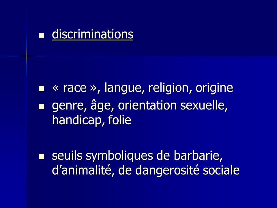 discriminations « race », langue, religion, origine. genre, âge, orientation sexuelle, handicap, folie.