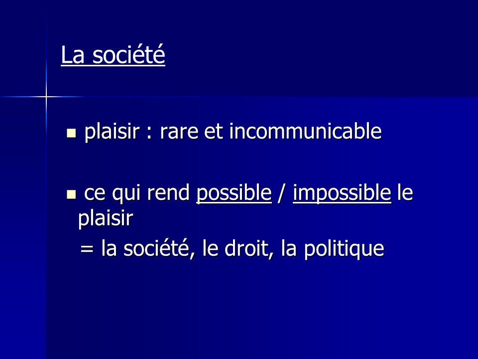 La société plaisir : rare et incommunicable