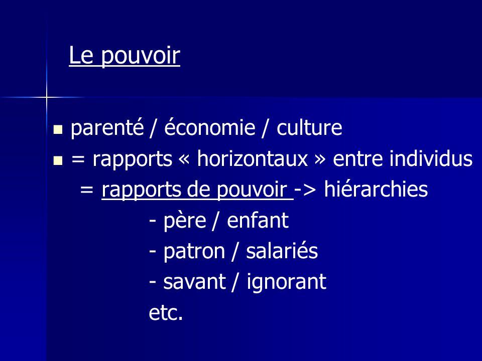 Le pouvoir parenté / économie / culture