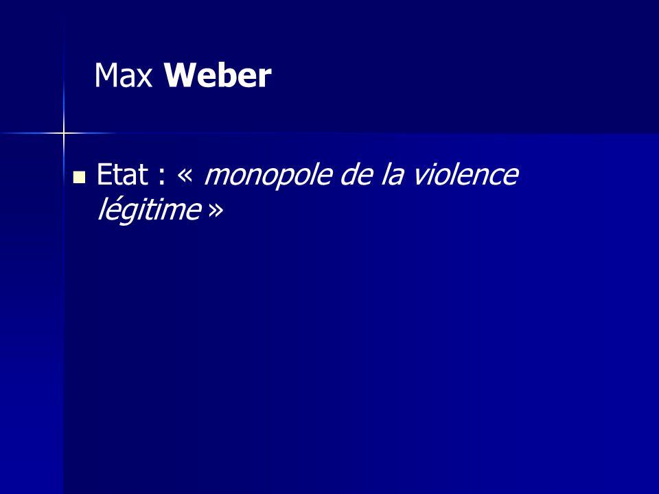 Max Weber Etat : « monopole de la violence légitime »