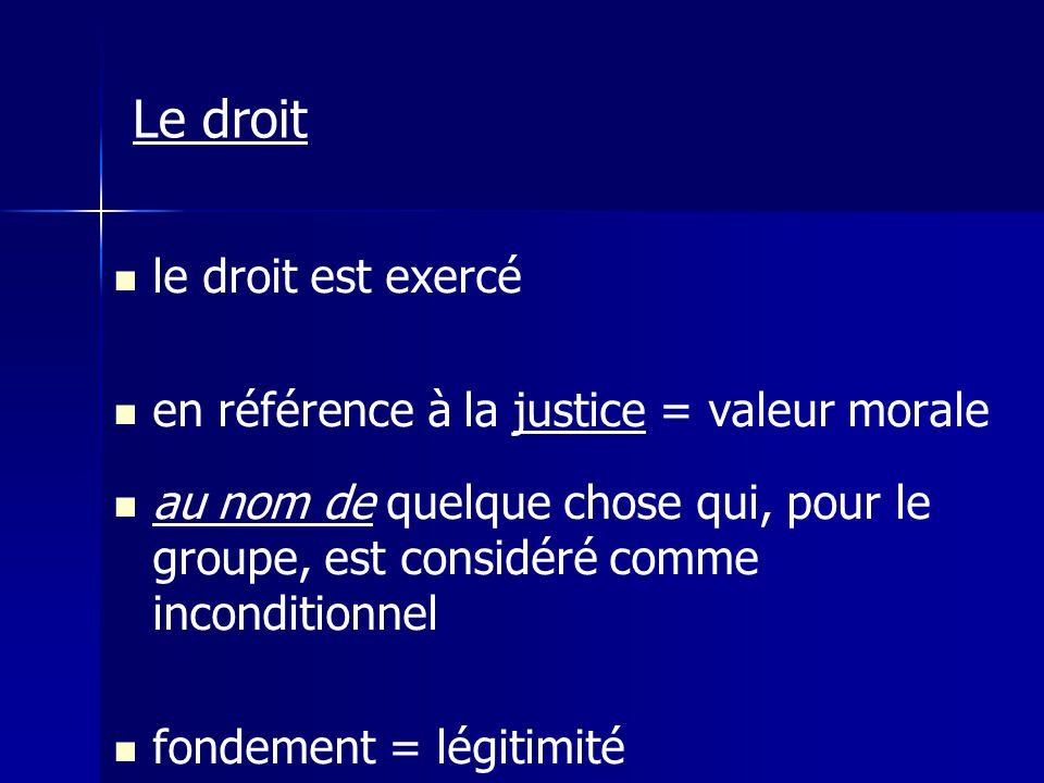 Le droit le droit est exercé en référence à la justice = valeur morale