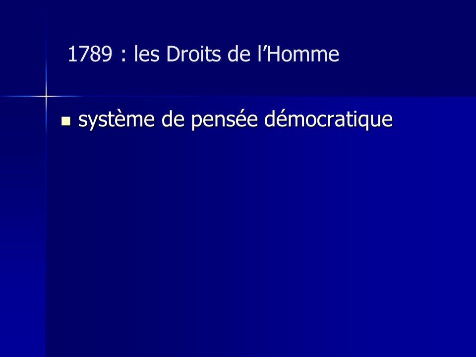 1789 : les Droits de l'Homme système de pensée démocratique