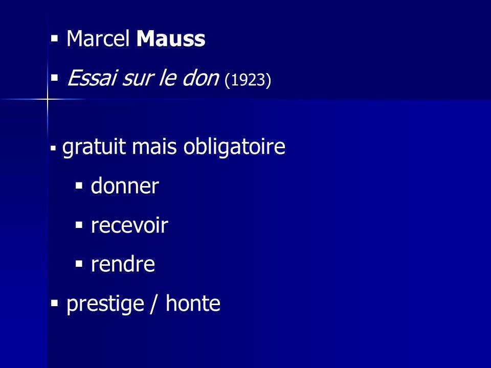Marcel Mauss Essai sur le don (1923) donner recevoir rendre