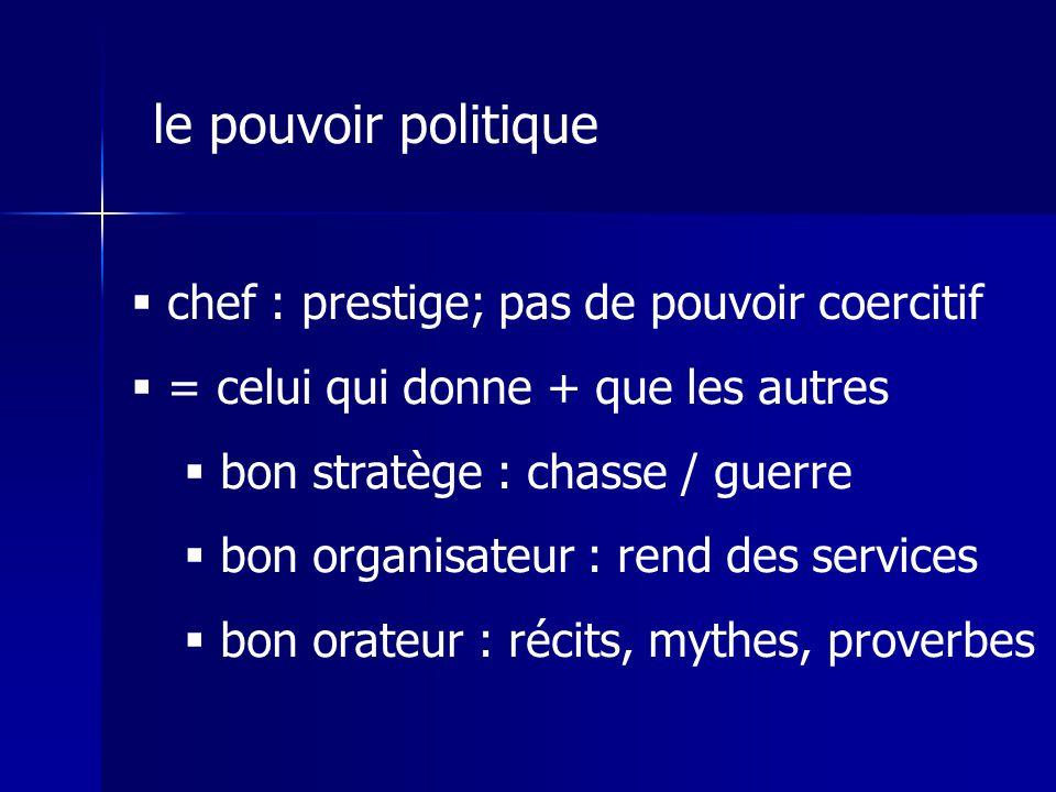 le pouvoir politique chef : prestige; pas de pouvoir coercitif
