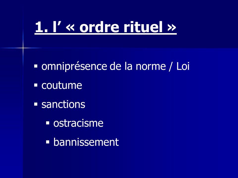 1. l' « ordre rituel » omniprésence de la norme / Loi coutume