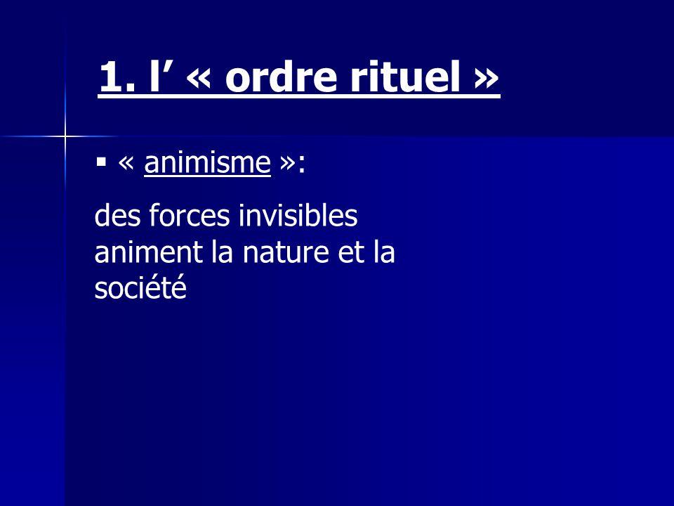 1. l' « ordre rituel » « animisme »: