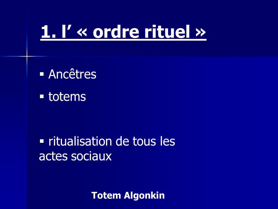 1. l' « ordre rituel » Ancêtres totems