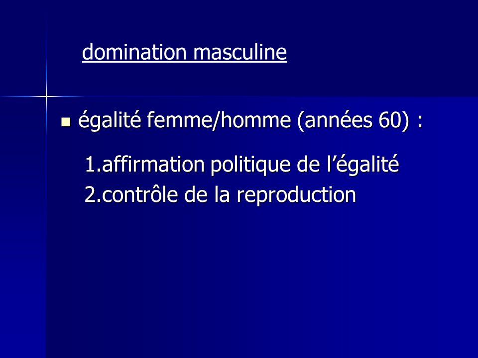 domination masculine égalité femme/homme (années 60) : affirmation politique de l'égalité.