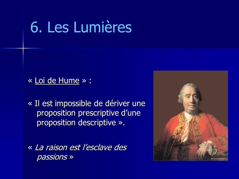 6. Les Lumières « Loi de Hume » :