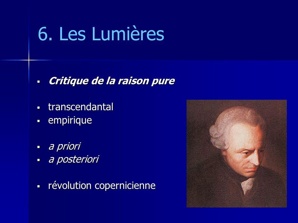 6. Les Lumières Critique de la raison pure transcendantal empirique