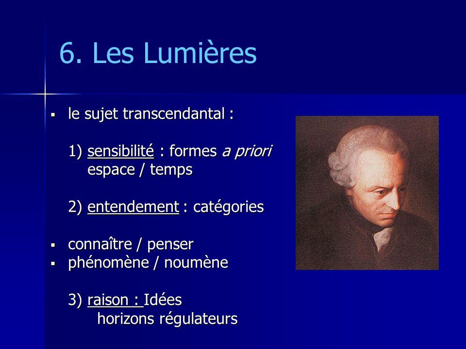 6. Les Lumières le sujet transcendantal :