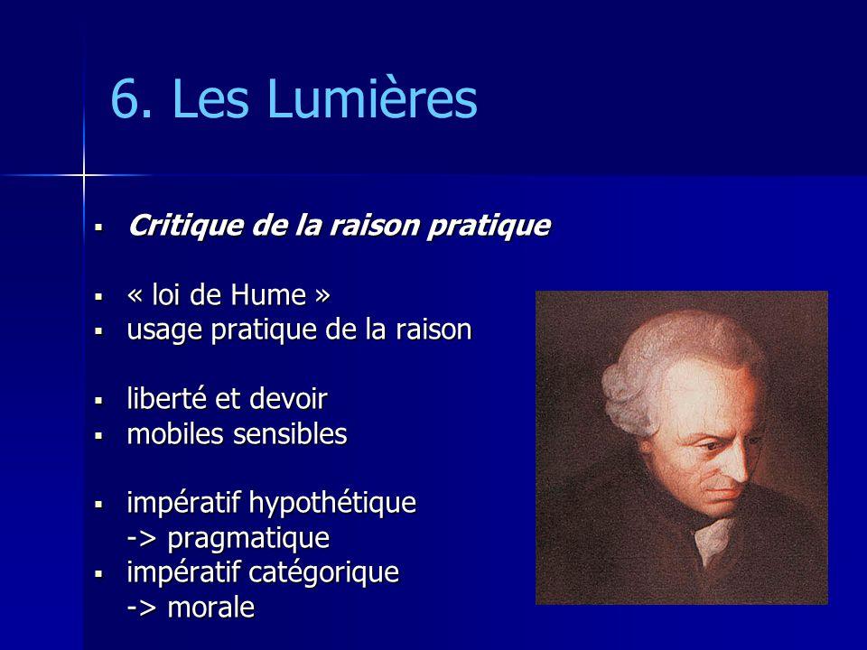 6. Les Lumières Critique de la raison pratique « loi de Hume »