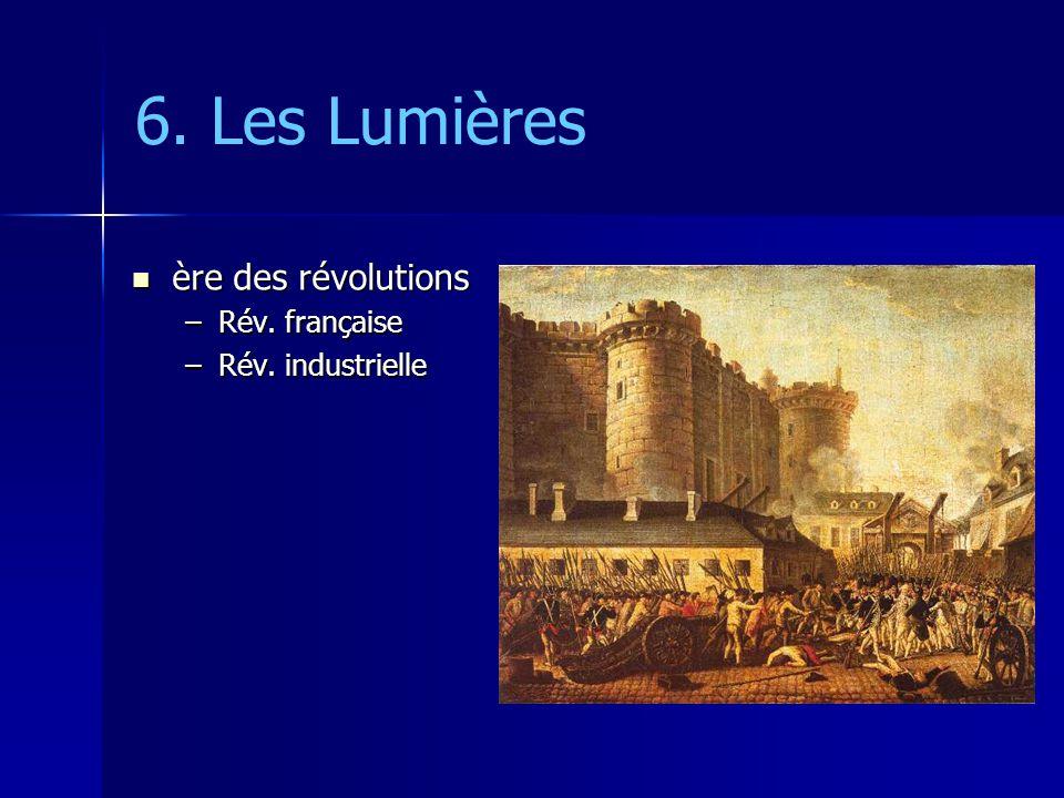 6. Les Lumières ère des révolutions Rév. française Rév. industrielle