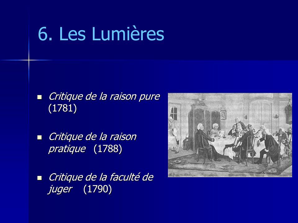 6. Les Lumières Critique de la raison pure (1781)