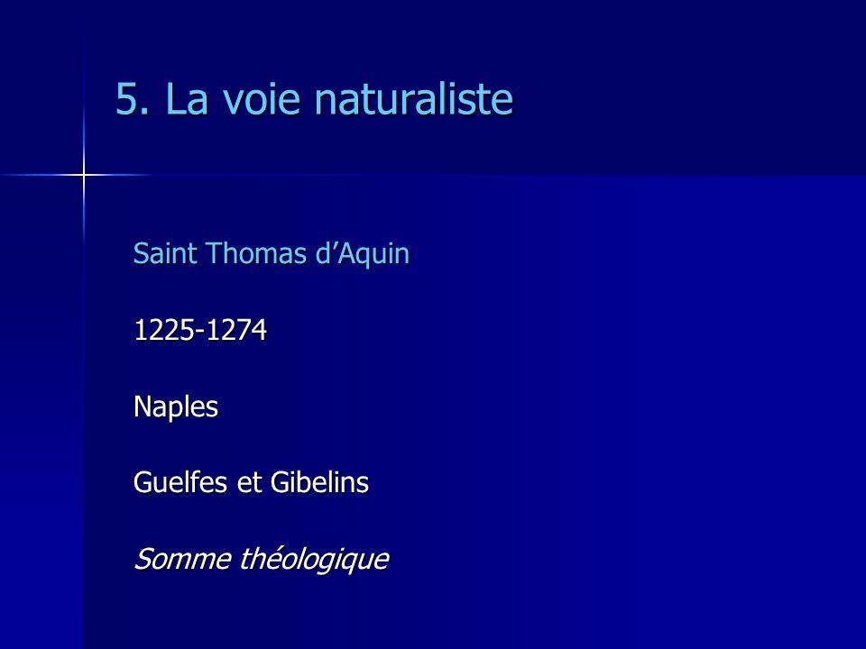 5. La voie naturaliste Saint Thomas d'Aquin 1225-1274 Naples
