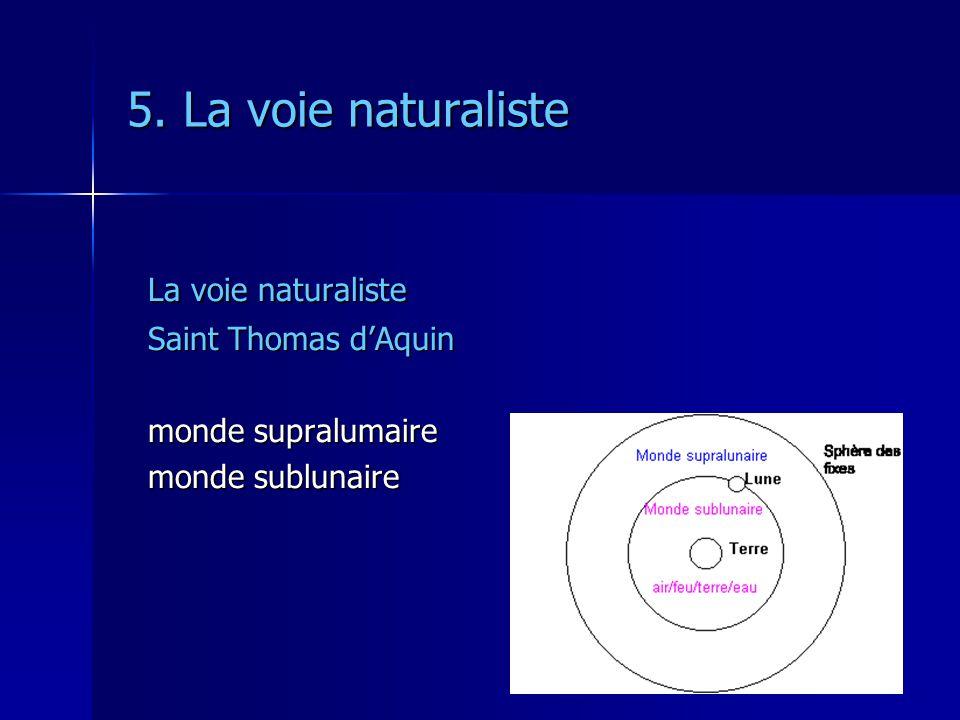 5. La voie naturaliste La voie naturaliste Saint Thomas d'Aquin