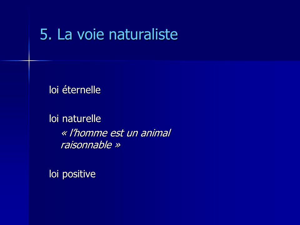 5. La voie naturaliste loi éternelle loi naturelle