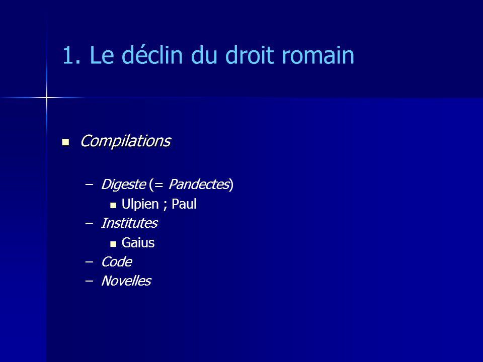 1. Le déclin du droit romain