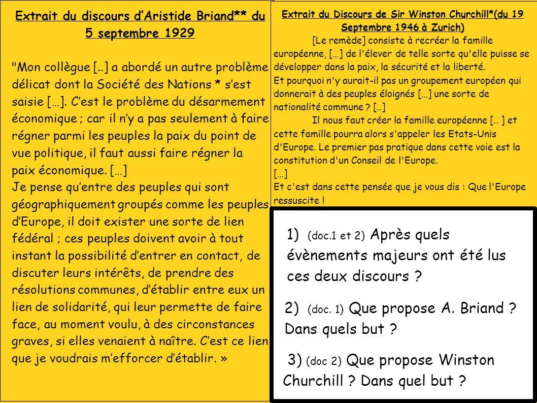 Extrait du discours d'Aristide Briand** du 5 septembre 1929