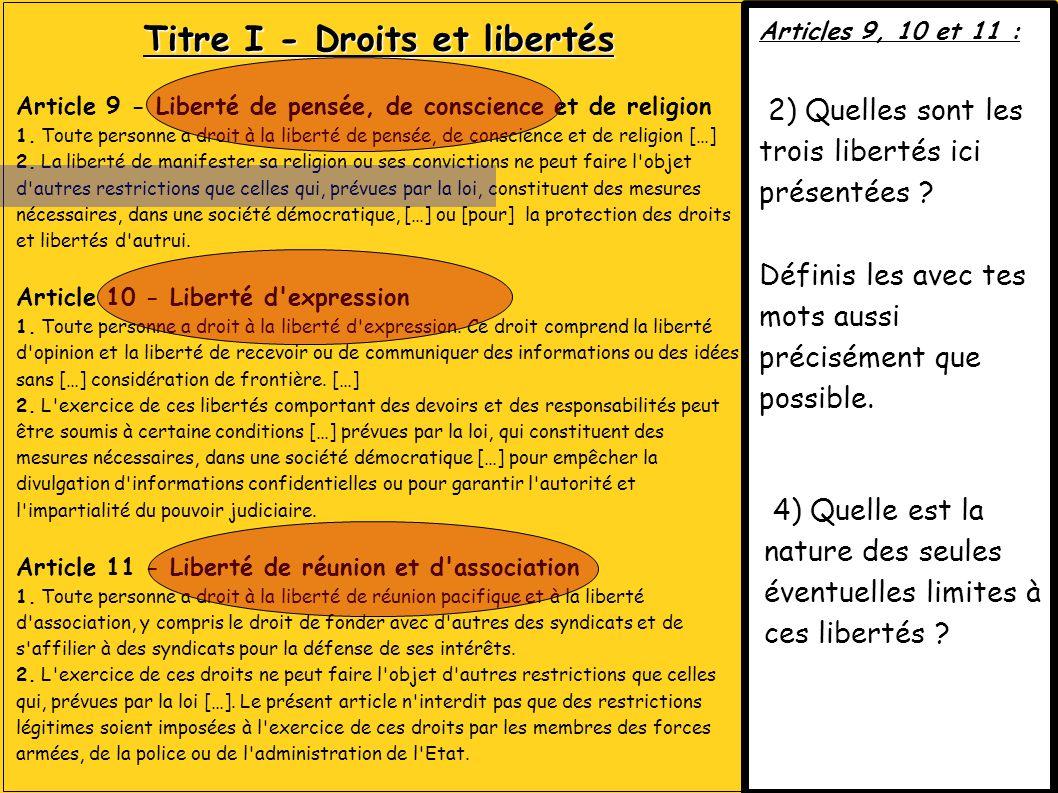 Titre I - Droits et libertés