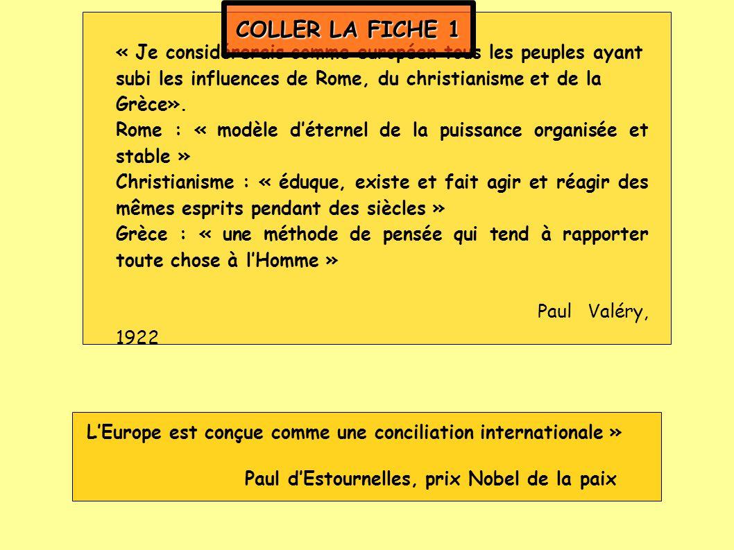 COLLER LA FICHE 1 « Je considérerais comme européen tous les peuples ayant subi les influences de Rome, du christianisme et de la Grèce».