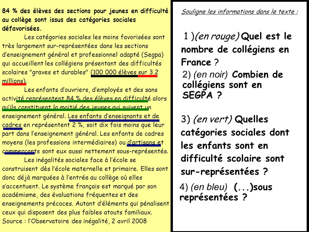 1 )(en rouge) Quel est le nombre de collégiens en France