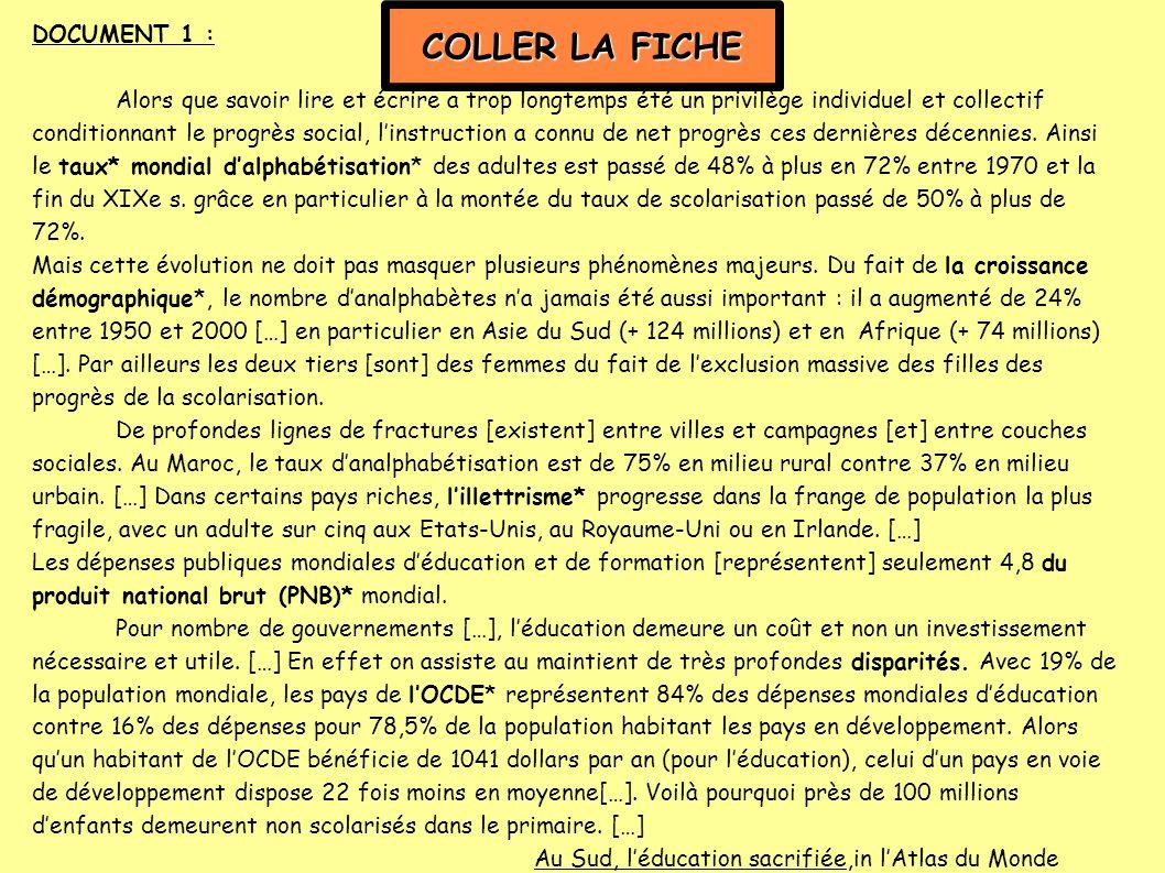 COLLER LA FICHE DOCUMENT 1 :