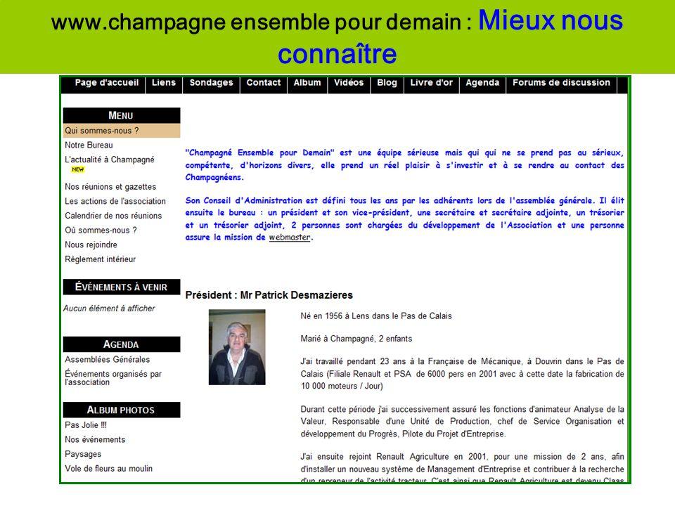 www.champagne ensemble pour demain : Mieux nous connaître